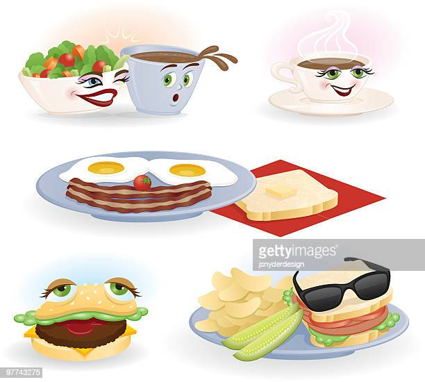 food fun set - toast bread stock illustrations, clip art, cartoons, & icons