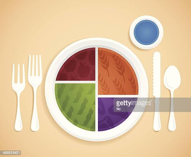 food groups plate - food pyramid stock illustrations