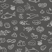 Food hand drawn icons seamless pattern