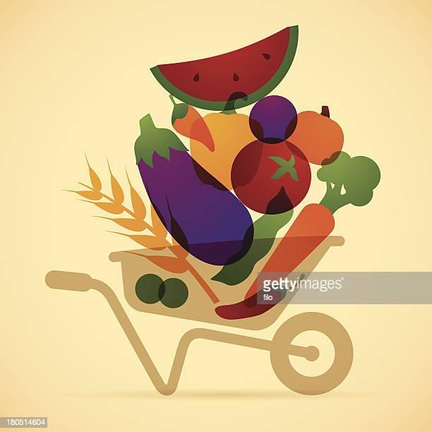 food harvest - wheelbarrow stock illustrations, clip art, cartoons, & icons