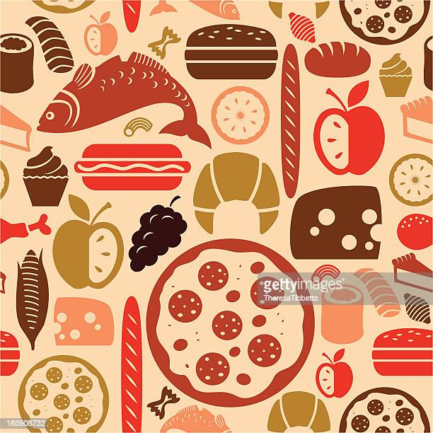 food icon pattern - chicken pie stock illustrations, clip art, cartoons, & icons