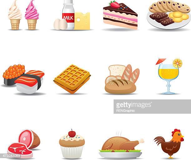 food icon set | elegant series - waffle stock illustrations, clip art, cartoons, & icons