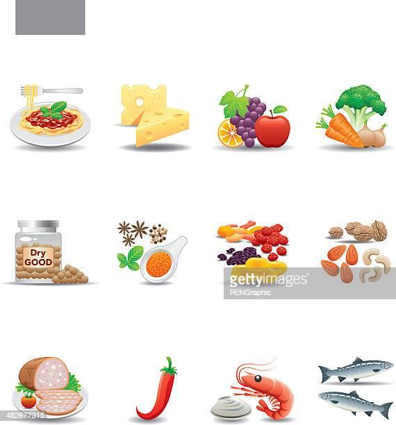 Conjunto de iconos de los alimentos/elegante serie