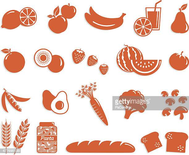 food icon set - fruit, veggies and cereals - fruit juice stock illustrations, clip art, cartoons, & icons