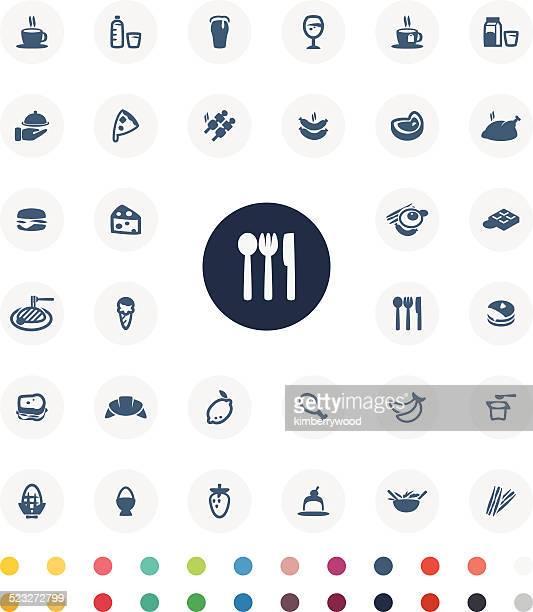 food icon set - steak plate stock illustrations, clip art, cartoons, & icons