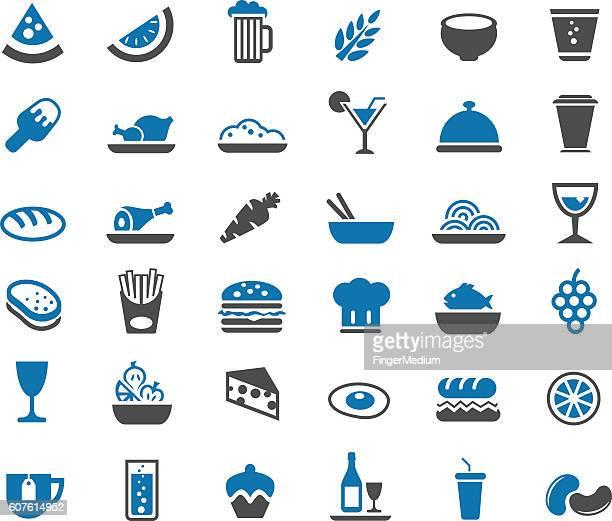 food icon set - hamburger stock illustrations, clip art, cartoons, & icons