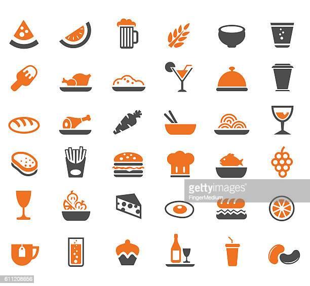 ilustraciones, imágenes clip art, dibujos animados e iconos de stock de conjunto de iconos de comida - beef pie