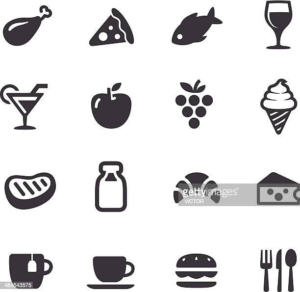 food icons - acme series - meat stock illustrations