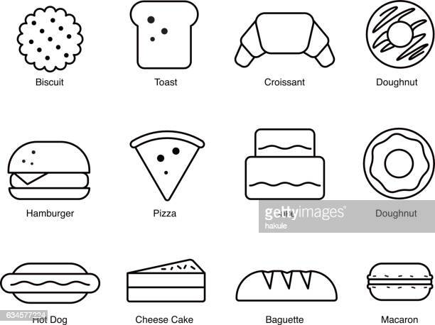 food icons, depicting breaded goods - macaroon stock illustrations, clip art, cartoons, & icons