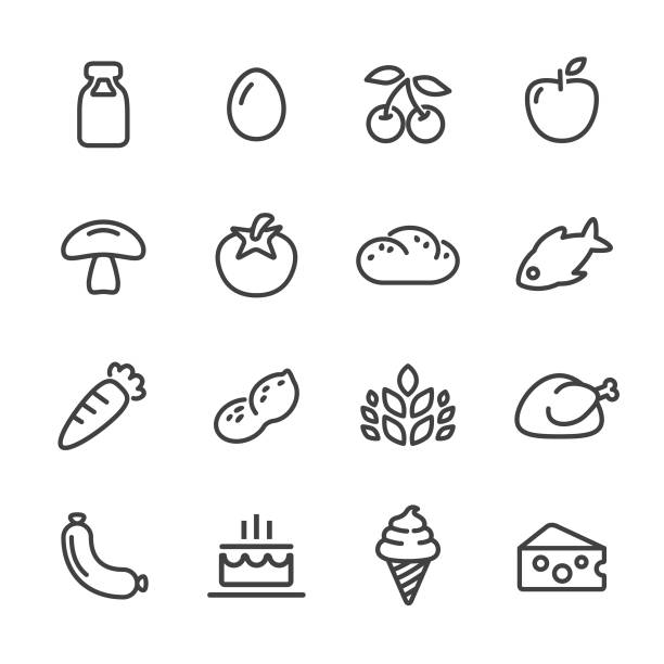 food icons - line series - frozen food stock illustrations