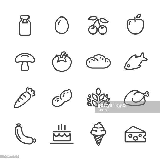 food icons - line series - apple fruit stock illustrations