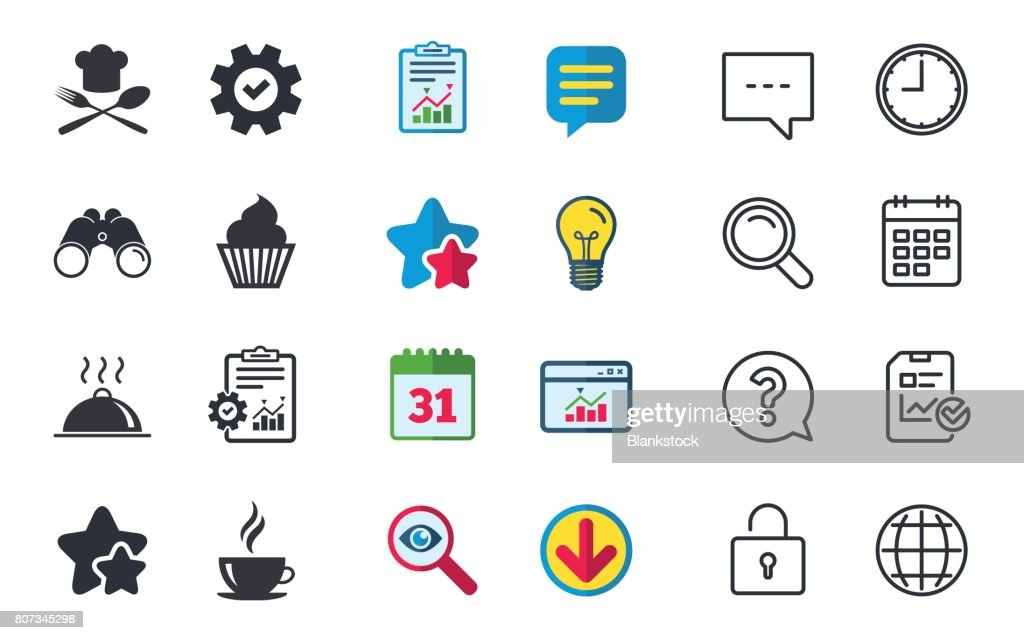 Food Icons Muffin Cupcake Symbol Fork Spoon Vector Art Getty Images