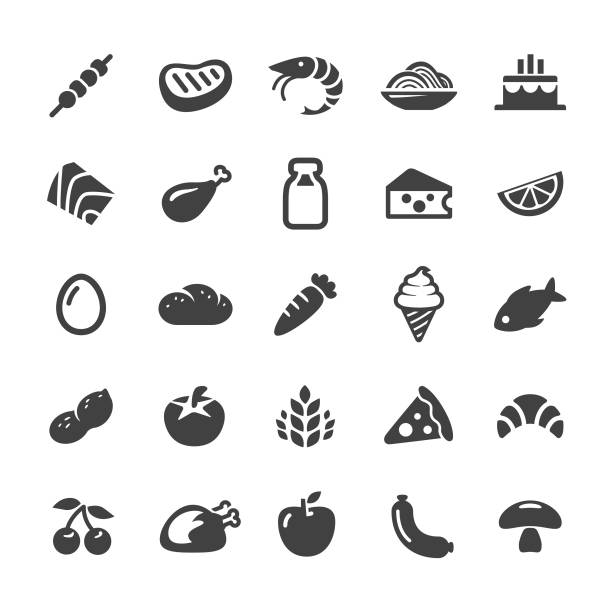 food icons - smart series - frozen food stock illustrations