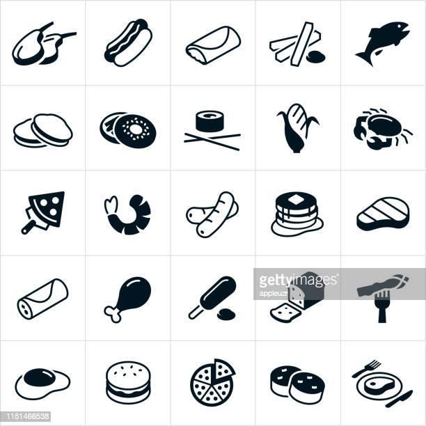 ilustraciones, imágenes clip art, dibujos animados e iconos de stock de iconos de alimentos - patatas preparadas