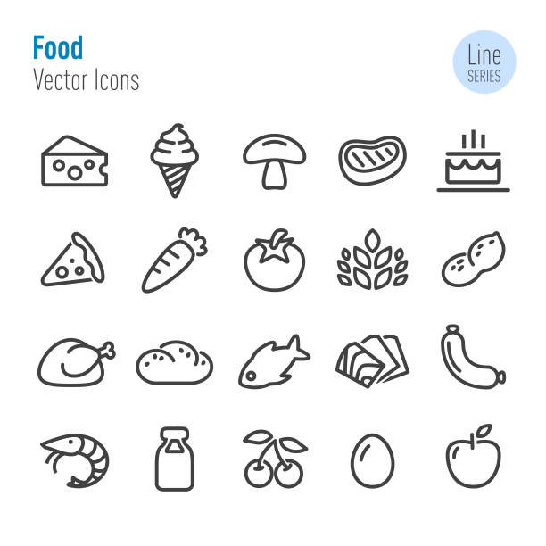 food icons - vector line series - frozen food stock illustrations