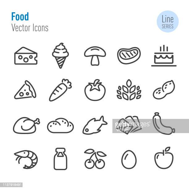 food icons - vector line series - apple fruit stock illustrations