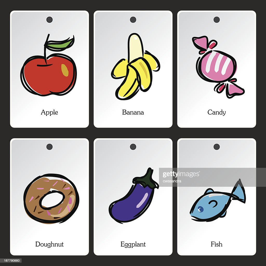 Food illustration vocabulary card