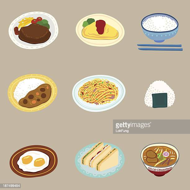 food in colorful cartoon style - steak plate stock illustrations, clip art, cartoons, & icons