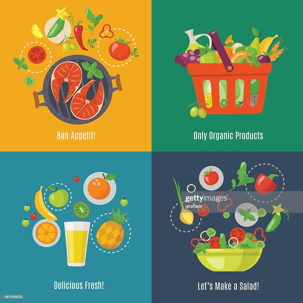 Food infographic. Flat style. Shopping basket. Fruit juice. Fruit fresh. Salad infographic.