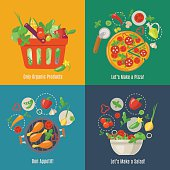 Food infographic. Flat style. Shopping basket. Pizza, chicken and salad infographic.