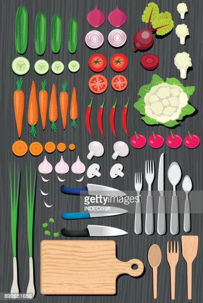 food knolling - cauliflower stock illustrations, clip art, cartoons, & icons