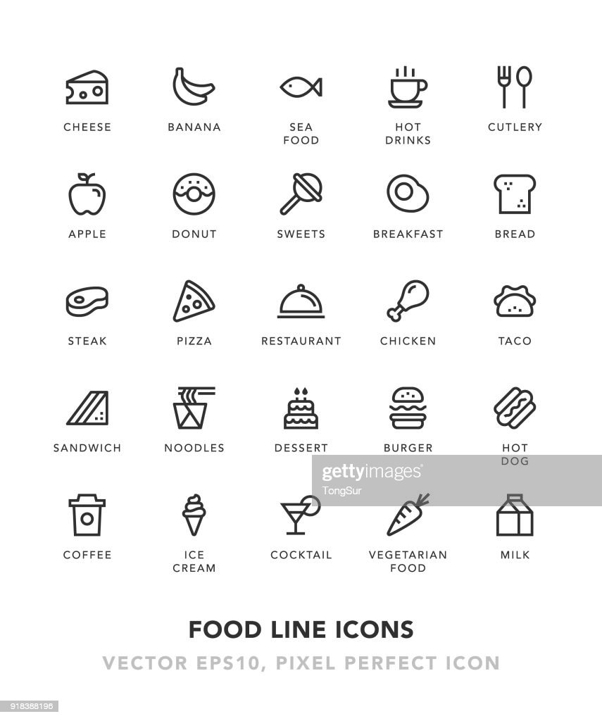 Food Line Icons : stock illustration