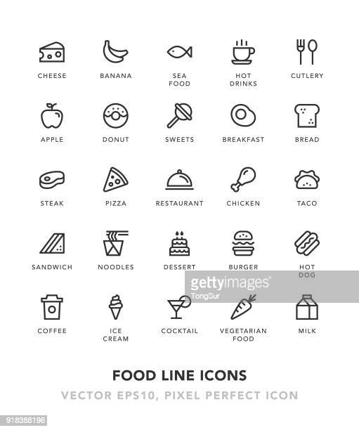 food line icons - unhealthy eating stock illustrations