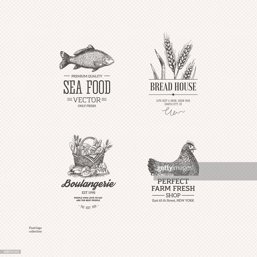 Food logo collection. Engraved logo set. Vector illustration