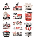 Food logotype restaurant vintage design cooking text phrases badge element label icon and hand drawn stamp retro template vector illustration