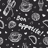 Food love seamless pattern in black and white colors