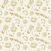 Food love seamless pattern in vintage pale colors