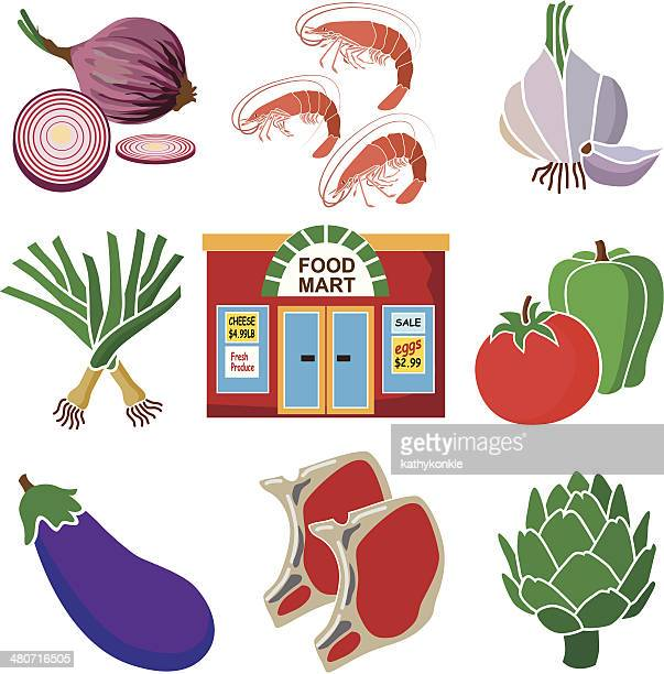 food mart healthy eating - leek stock illustrations, clip art, cartoons, & icons
