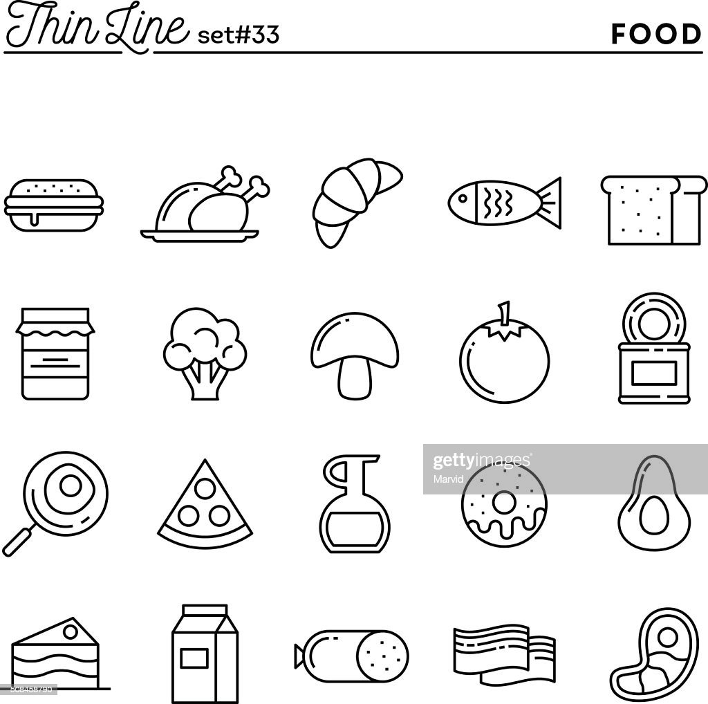 Food, meat, vegetables and more, thin line icons set