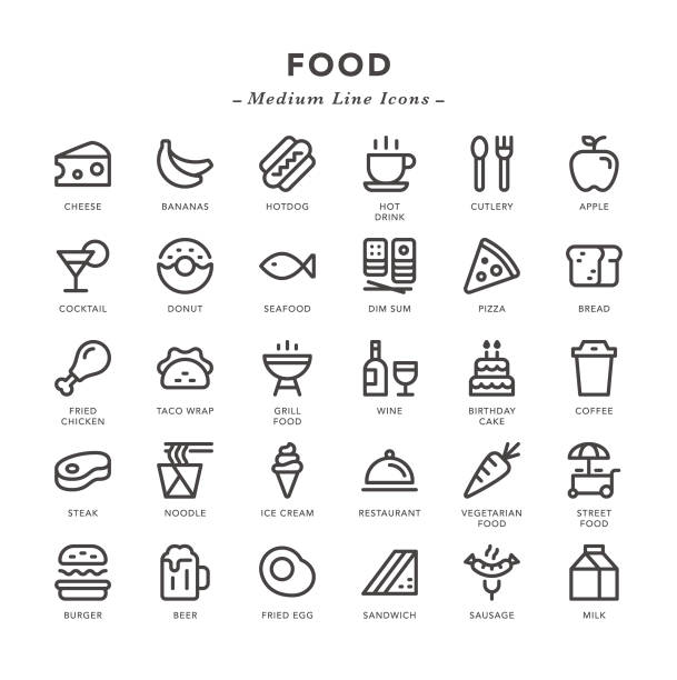 food - medium line icons - frozen food stock illustrations