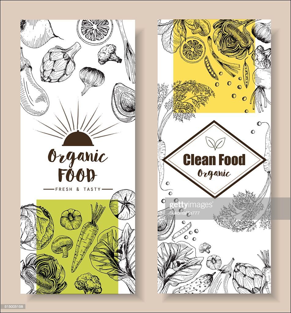 Food menu design vegetable organic healthy drawing element