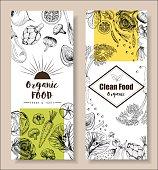 Food menu design vegetable organic healthy drawing element