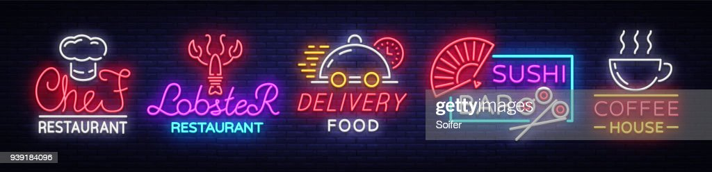 Food neon sign vector collection. Set neon symbols, emblems, symbols, Chief Restaurant, Lobster Restaurant, Food Delivery, Sushi Bar, Coffee House. Design templates, Neon Billboard
