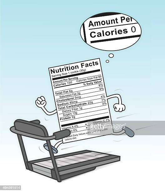 Food Nutrition Label on a treadmill burning calories