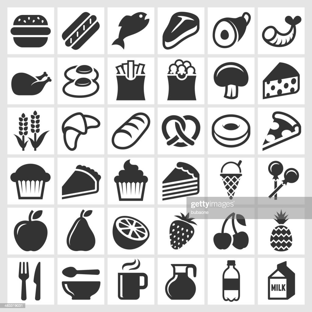 Food on Black and White royalty free vector icon set : stock illustration