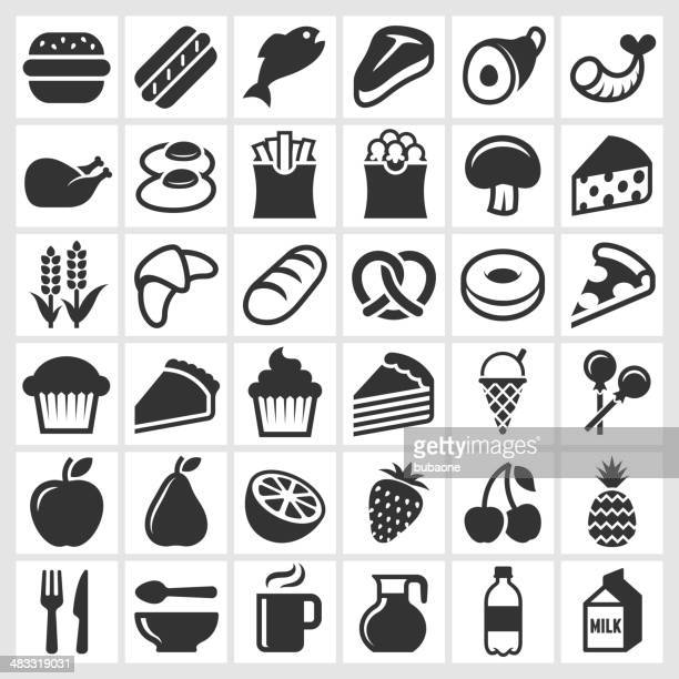 food on black and white royalty free vector icon set - meat stock illustrations