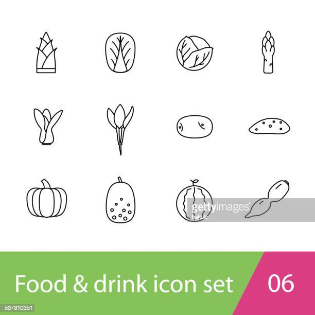 food outline icon set - asparagus stock illustrations, clip art, cartoons, & icons