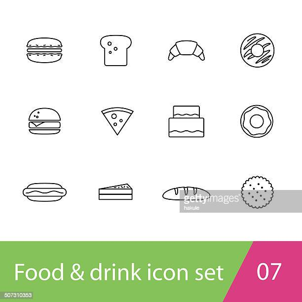food outline icon set - macaroon stock illustrations, clip art, cartoons, & icons