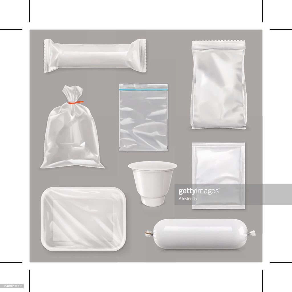 Food packaging for different snack products, vector set mock up