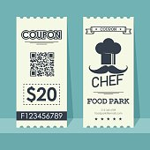 Food park coupon ticket. Element template vertical vintage design for graphics. Vector illustration.