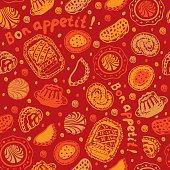 Food pastry seamless pattern – Illustration