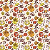 Food pastry seamless pattern on white background – Illustration