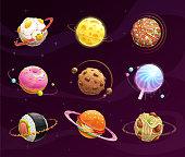 Food planet galaxy concept