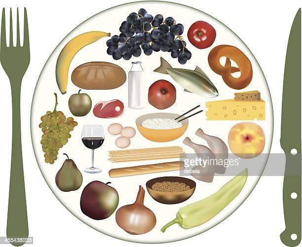 food plate - steak plate stock illustrations, clip art, cartoons, & icons