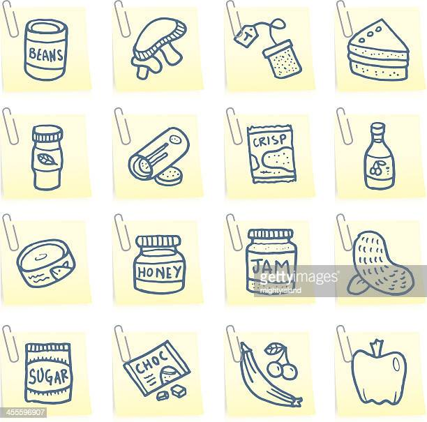 food post it note icons - cracker snack stock illustrations, clip art, cartoons, & icons