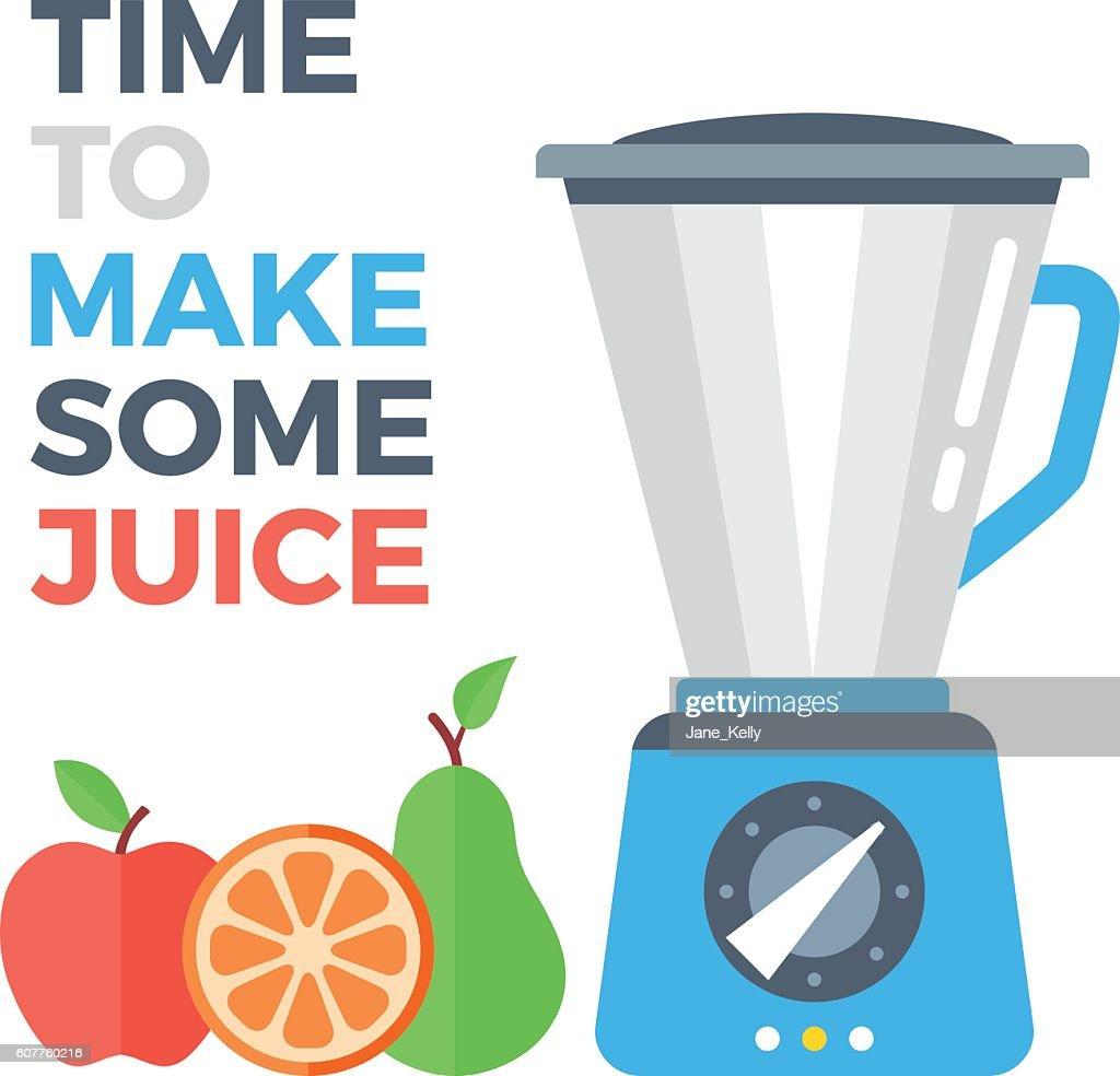 Food processor and fruits. Apple, orange and pear. Flat design